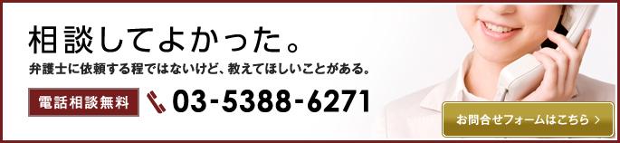 電話相談無料 TEL: 03-5388-6271 お問合せフォームはこちら